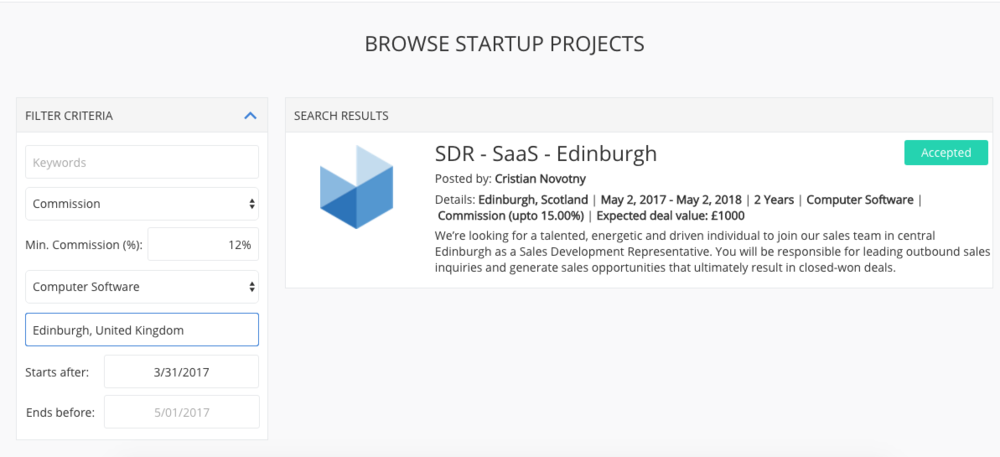 SEARCH & CONNECT - Search for matching projects / positions, send connection requests and wait for confirmation