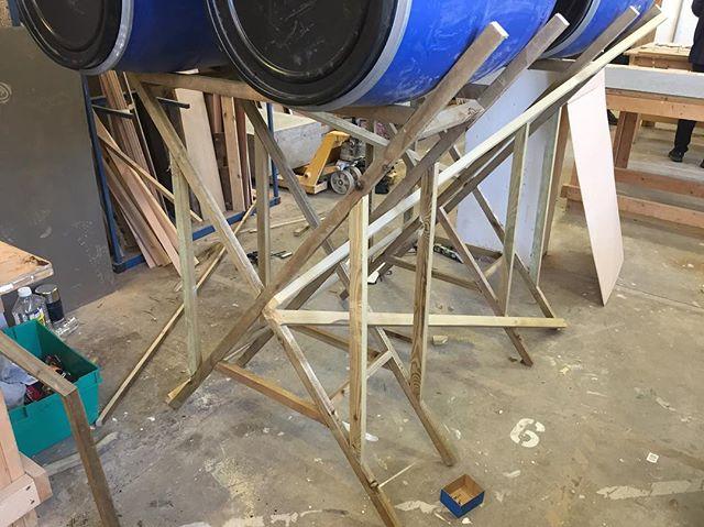 Detail. 🌊  4 days to go until Build on Stilts 🌿 {#buildonstilts #exhibition #contemporaryart #contemporarysculpture #art #sculpture #design #wood #timber #construction #wip #stilts #structure #boat #house}