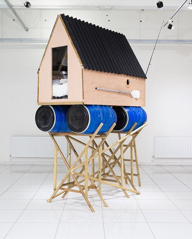 Floating Shelter  Mixed Media 1.2 x 1.8 x 3.2m 2018 📸 - @jgphotography_gla {#contemporaryart #art #artist #glasgow #sculpture #contemporarysculpture #exhibition #whatson #sustainability #enviromental #green #raft #boathouse #narrative