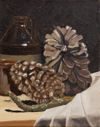 """A study in brown (pine cones), 8x10""""(20x25cm) oil on linen"""