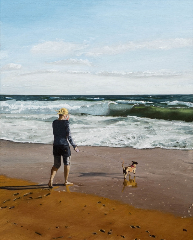 """""""Stacy on the beach"""" (with her dog Olivia) is a commissioned piece. 16x20""""(41x51cm) oil painting on stretched linen canvas."""