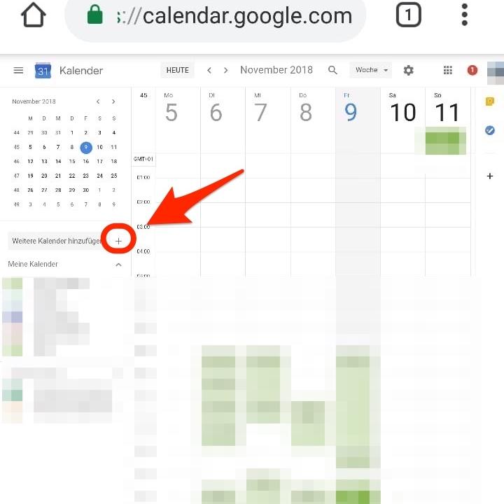 """3. Drücke """"+"""" neben """"Weiterer Kalender hinzufügen"""""""