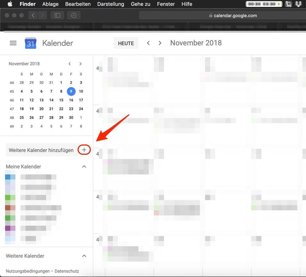 """2. Drücke """"+"""" neben """"Weiterer Kalender hinzufügen"""""""