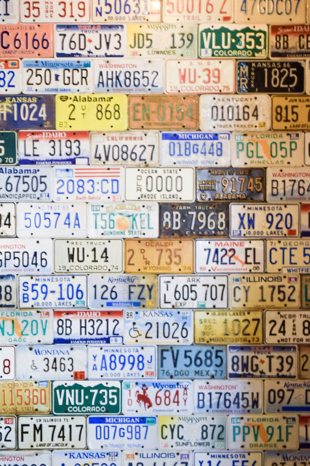 License Plate wall at Peltzer Family Cellars
