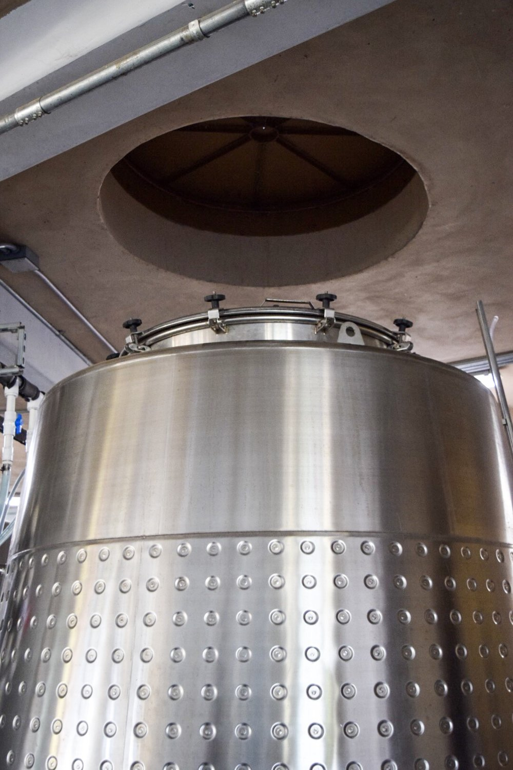 Fermentation Tank | Grapes are dropped using gravity from the third floor | Alximia Winery