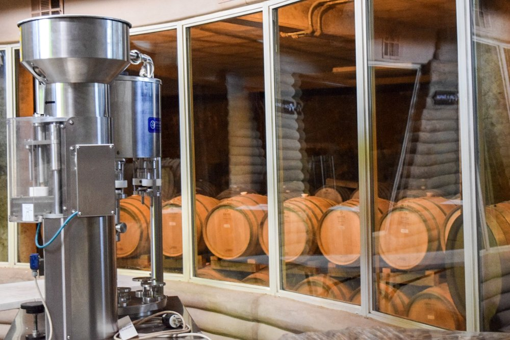 First level | Cellar at Alximia Winery | Photo by Erika Beach