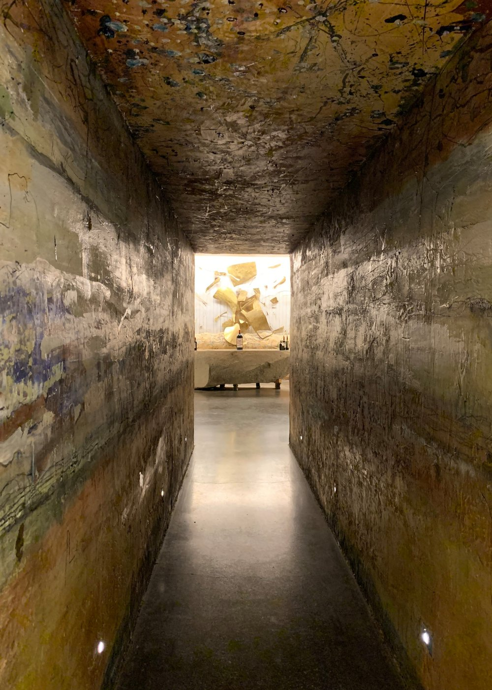 """The passage way to the Golden tasting cave was carved to represent the soil pits called, """"calicatas"""""""