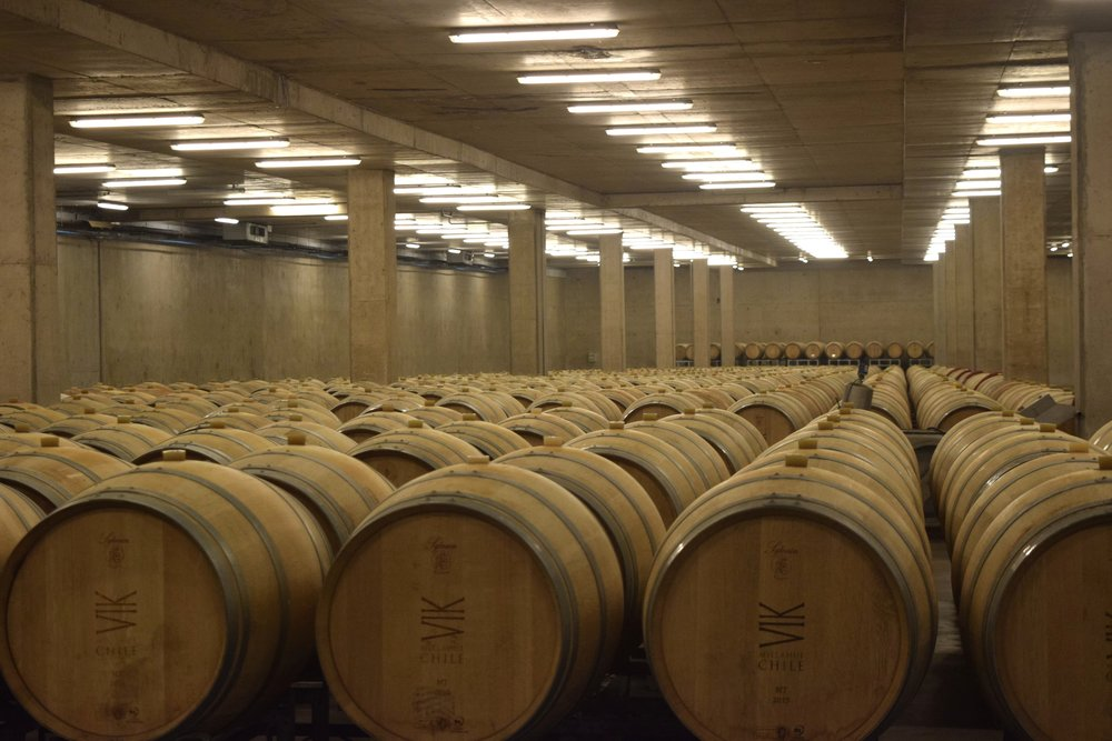 Oak barrel room underneath the water cooling feature