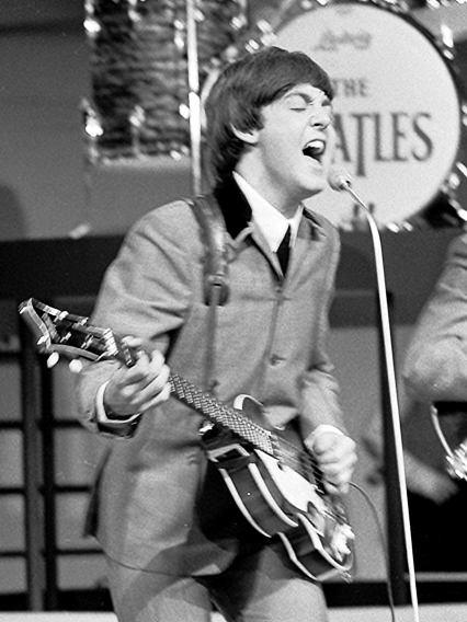 McCartney playing with The Beatles in 1964