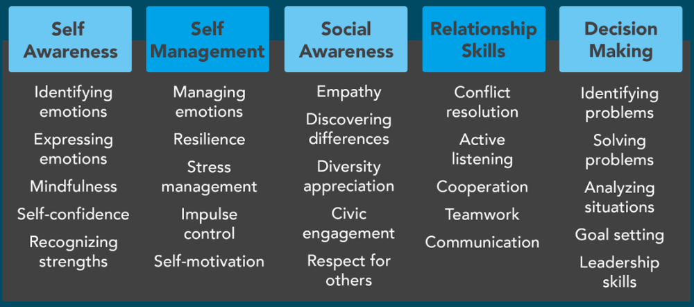 Self awareness, identifying emotions, expressing emotions, mindfulness, self-confidence, recognizing strengths, self management, managing emotions, resilience, stress management, impulse control, self-motivation, social awareness, empathy, discovering differences, diversity appreciation, civic engagement, respect for others, relationship skills, conflict resolution, active listening, cooperation, teamwork, communication, responsible decision making, identifying problems, solving problems, analyzing situations, goal setting, leadership skills