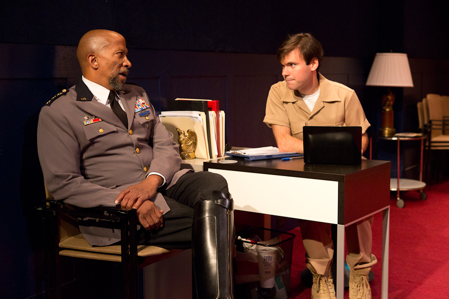 As Mark in A.R. Gurney's Heresy at The Flea, directed by Jim Simpson (pictured with Reg E. Cathey, 2012)