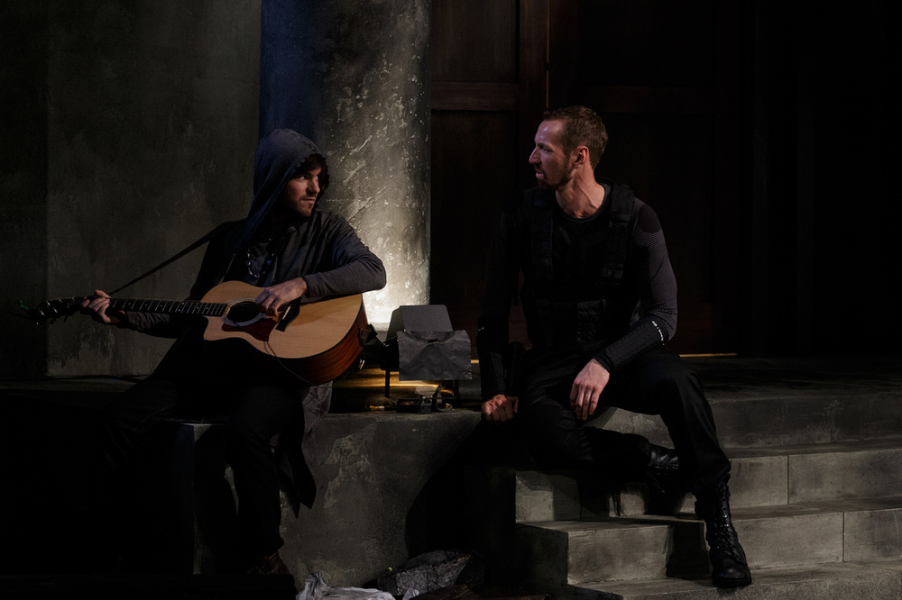 Tommy as the Musician with Walker Hare as the Guard