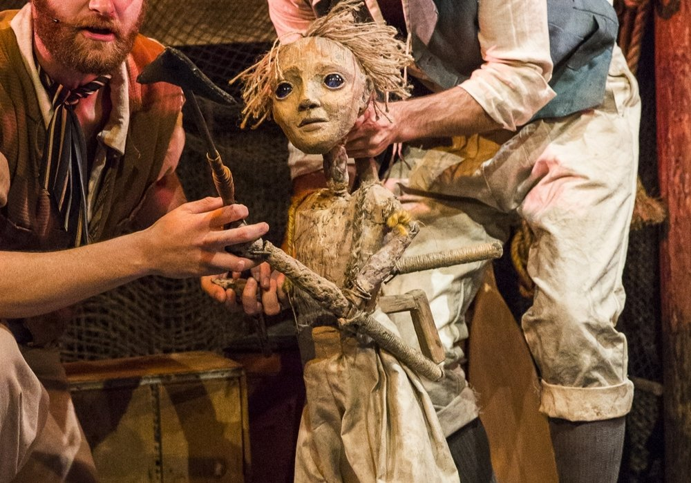 Manning the child Percy puppet in SeaWife at South Street Seaport (photo by Caitlin McNaney, puppet by James Ortiz)