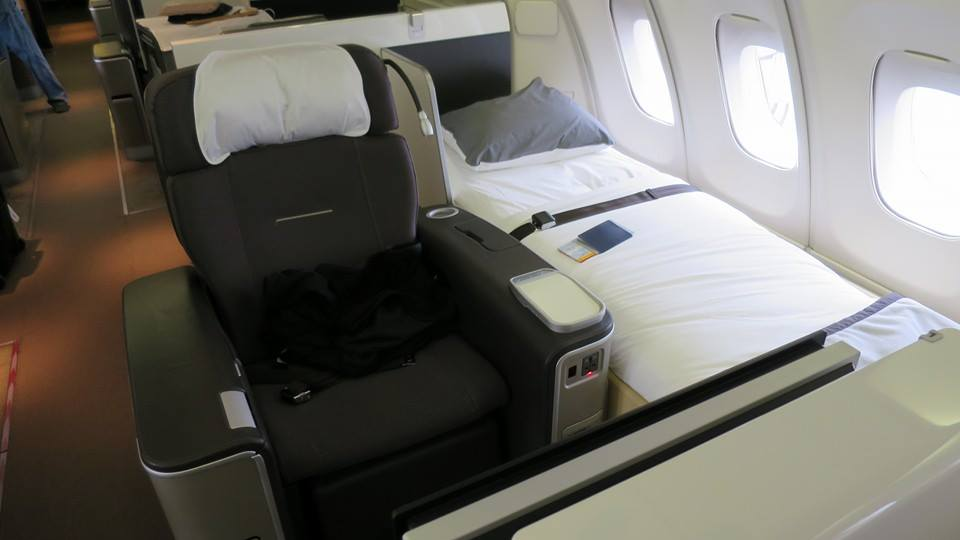 Lufthansa First Class on the 747. Yup. Separate seat and bed.