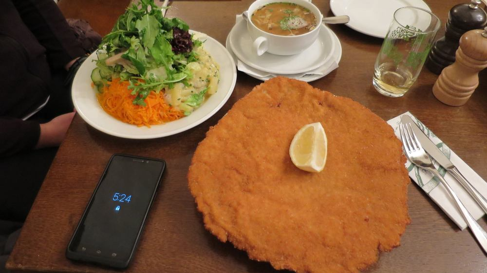 Yes, that  schnitzel is bigger than my face