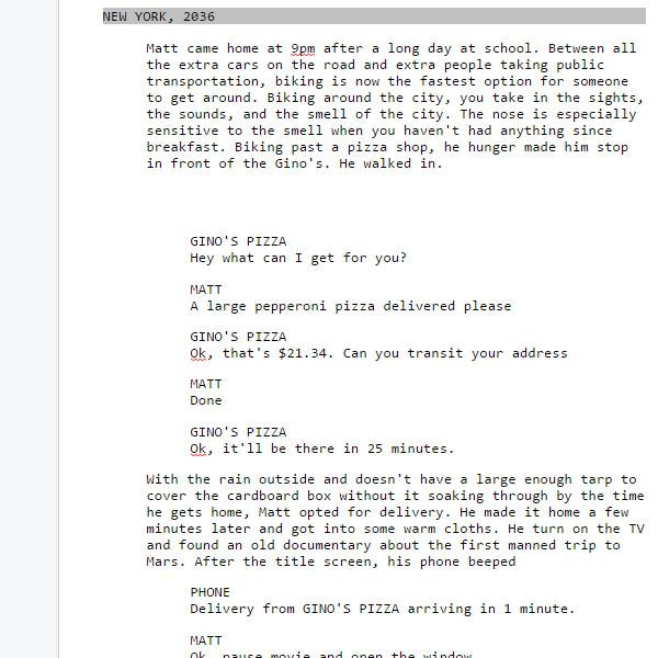 Design fiction script writing