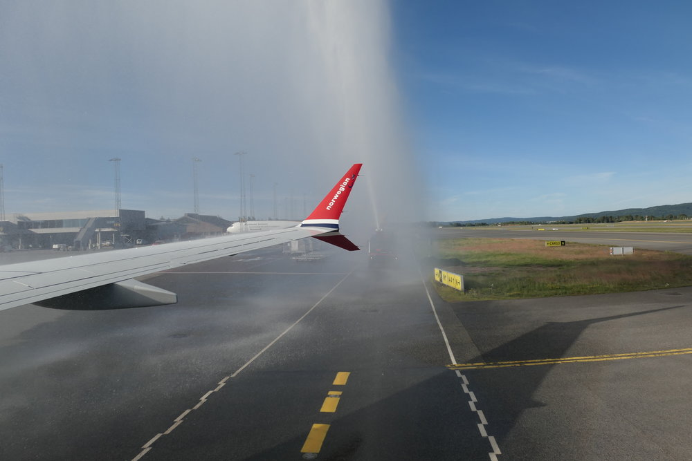 Water cannon salute upon arriving in Oslo