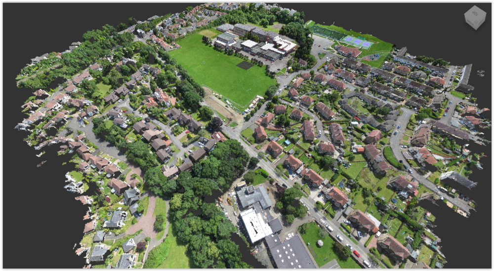 The data was brought together on Trimble Business Centre, from which control points were taken to build the point cloud model from the UAV photography.    Click to find out more about our aerial drone survey services