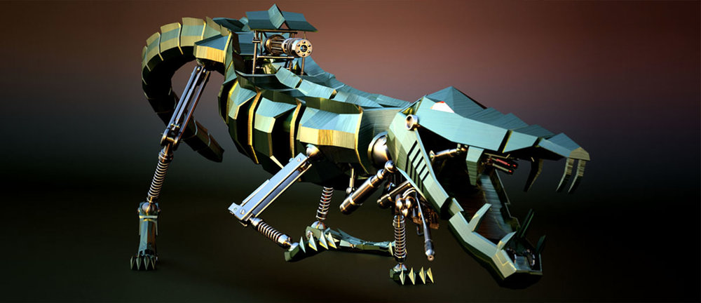 Robotic crocodile rig, rendered in Fryrender