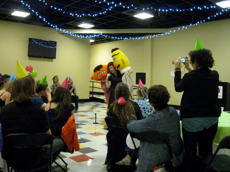 From one of the shows in Surprise Annie! An improvised storytelling show produced by Rubber Repertory. This one had dancing and a cake walk, as well as Bort and Ernesto, the license-free faux muppets..