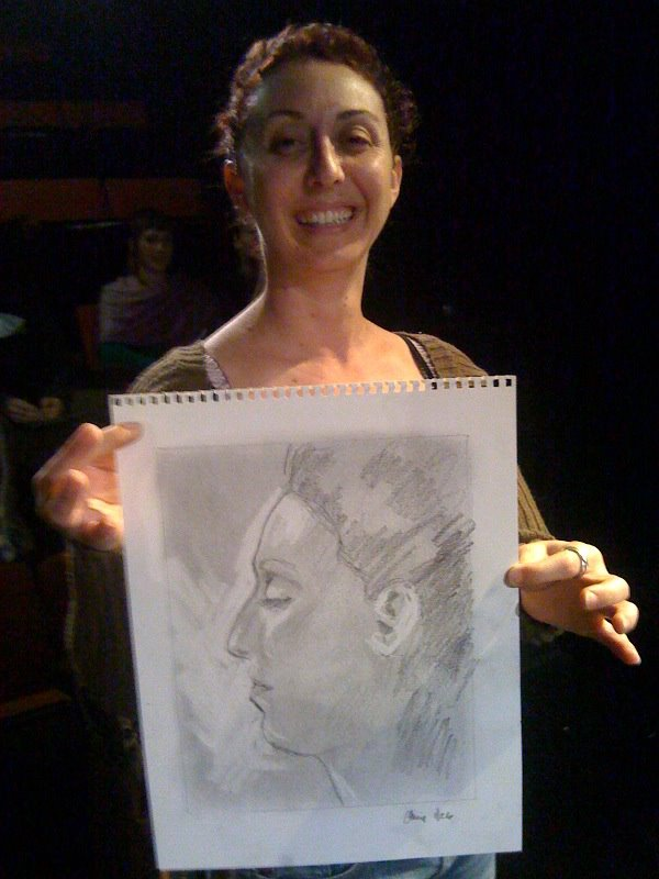 One of the audience profile portraits I did during a performance of Drawing A Paycheck.