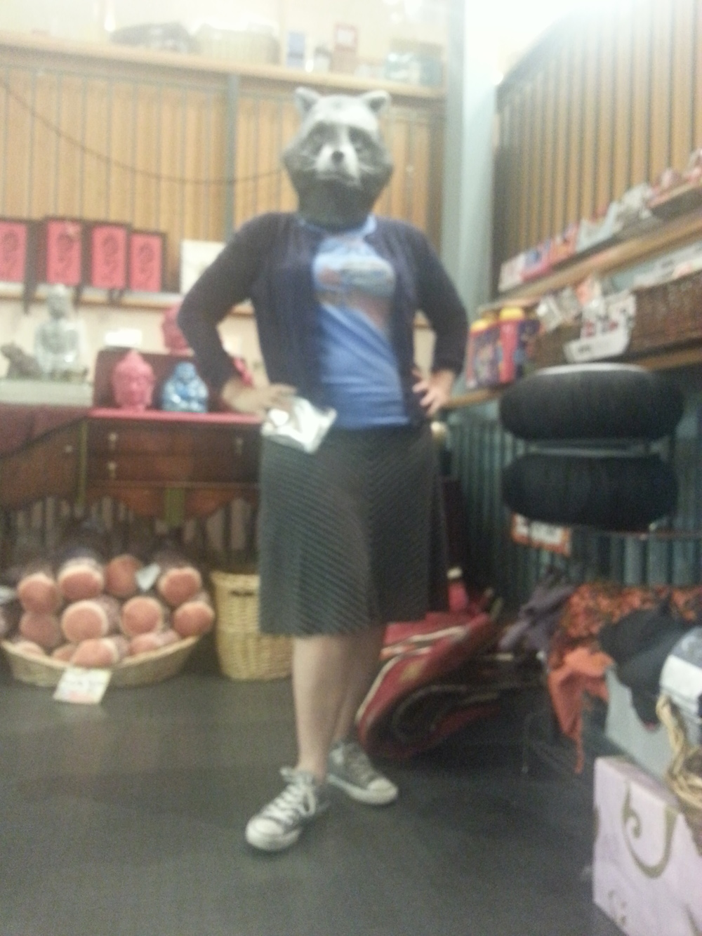 A fuzzy photo with bad lighting but it got a lot of mileage on OKCupid. Turns out men really like a woman in a raccoon mask and Chuck Taylors.