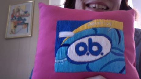 The Lovely and Talented Clancy Garvey made this o.b. throw pillow for me!