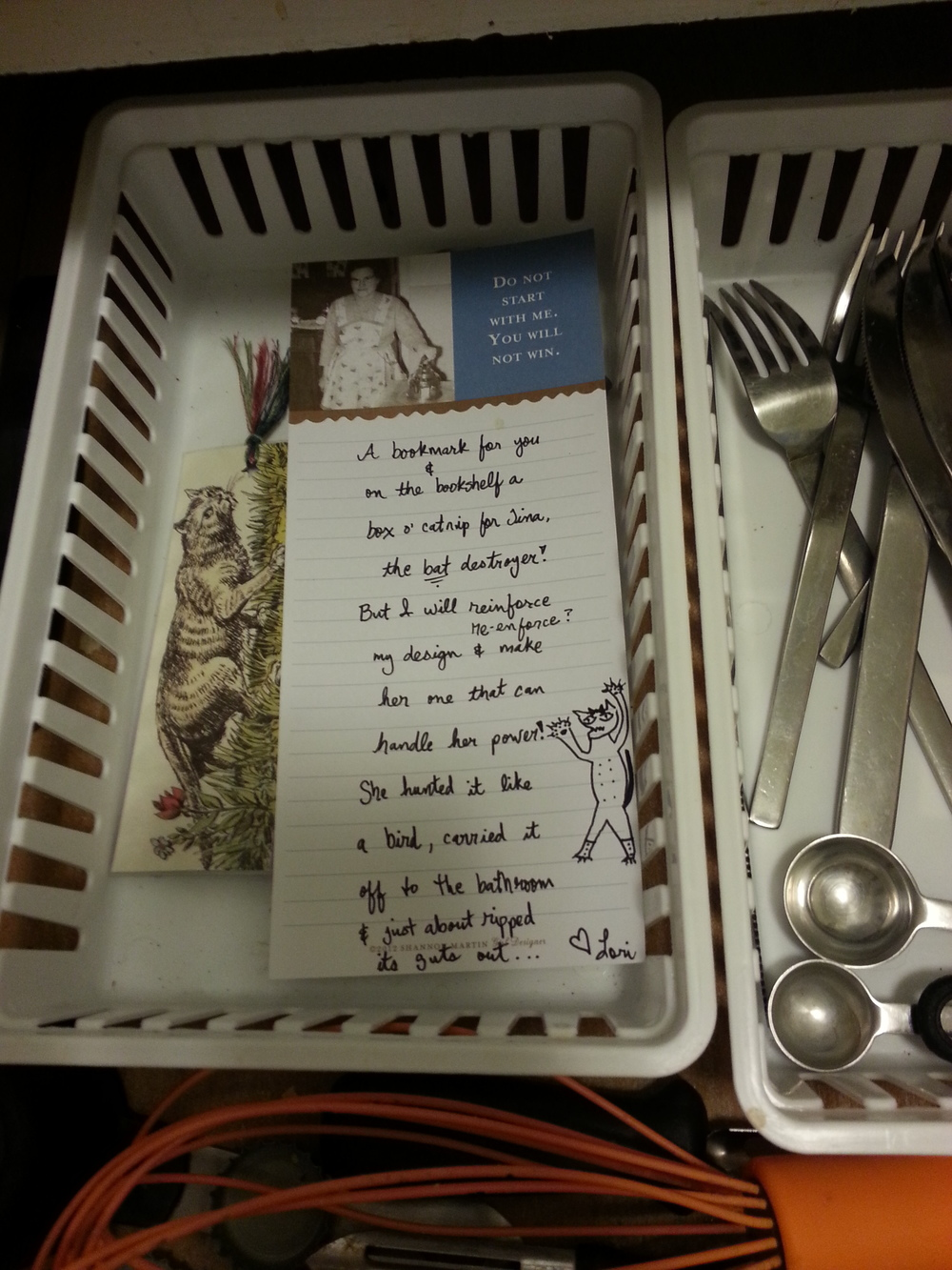 A note and bookmark left in the silverware drawer so Tina wouldn't destroy them.