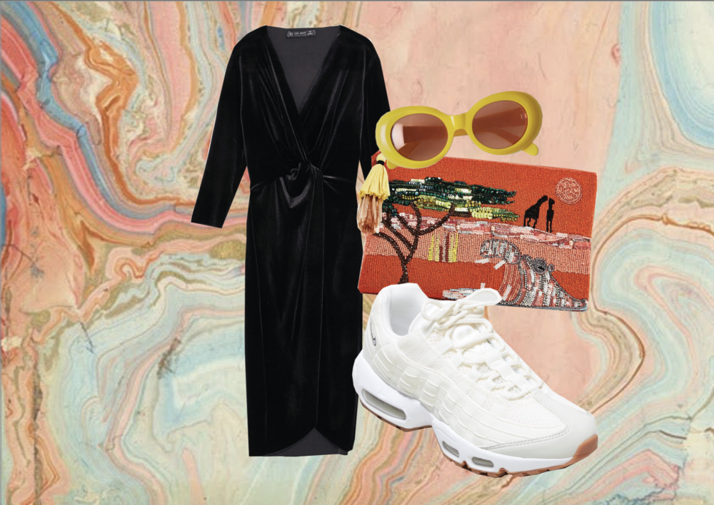 DRESS:  Zara  | BAG:  Zara  | SUNGLASSES:  Acne Studios  | Pair the Nike AM 95's with an evening dress and sequin bag for a day-to-night lewk.