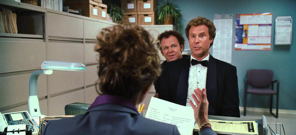 """You're wearing tuxedos to an interview for a job that requires you to clean bathrooms!"""