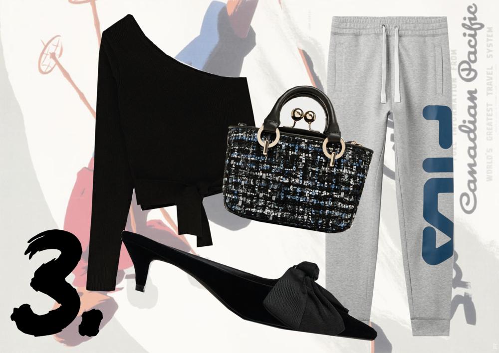 ASYMMETRIC KNIT:  Zara  | MULES:  Zara  | BAG:  Zara  | JOGGERS:  Fila