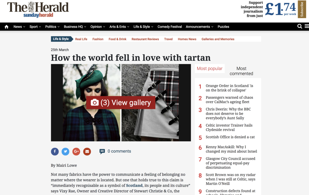 The Herald: How the world fell in love with tartan | Quoted re:  'Don't Call it a Comeback' originally published on ttfinlay.com