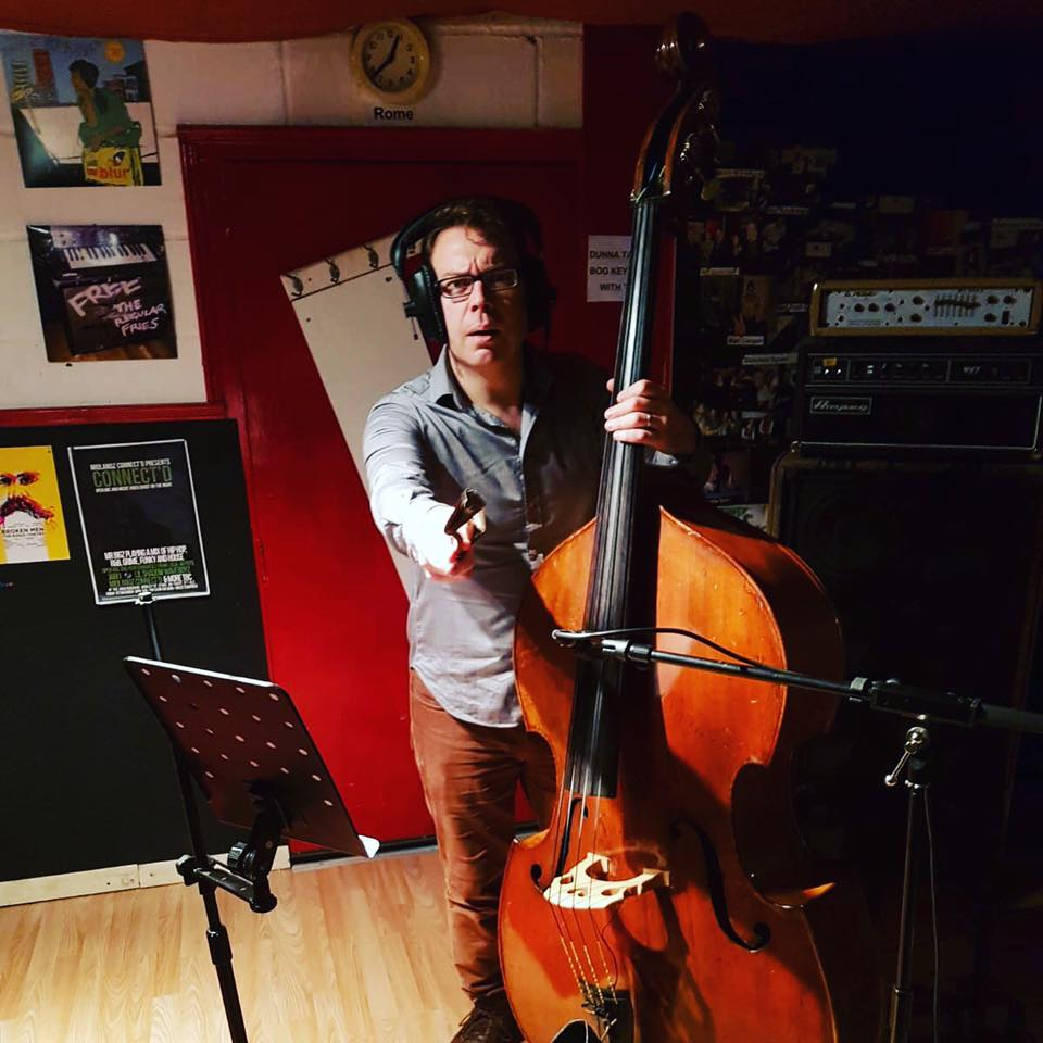 Step six: involve the family - Duncan recording bass for Saint Ishmael