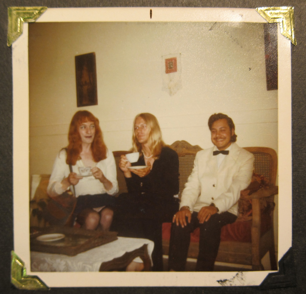 "Rupert Raj, Michael Camp, and Micheline Johnson, c. 1974, Kodacolor print, 3.5"" x 3.5"", The Family Camera Network, The Canadian Gay and Lesbian Archives, and Rupert Raj. Photographer: unknown."