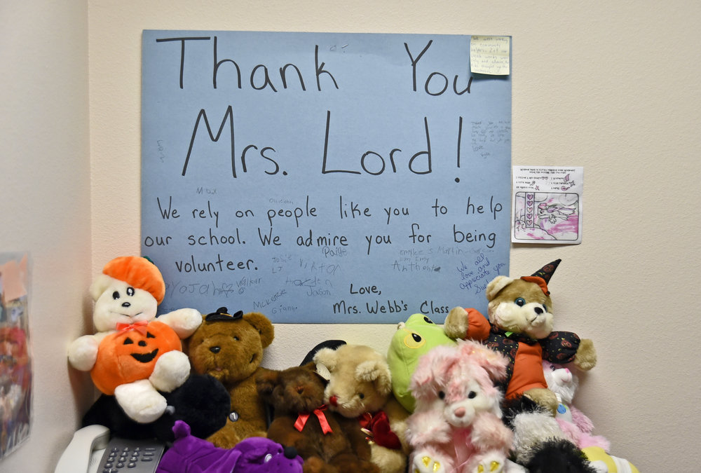 Atwater Elementary students in Northport show Sue Lord their appreciation for taking care of some of their most basic needs when their families couldn't.