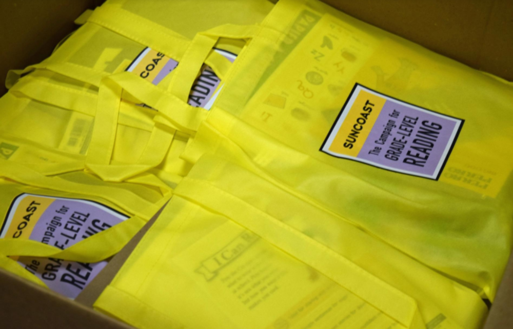 The Suncoast Campaign for Grade-Level Reading is handing out kindergarten readiness bags to  families of incoming kindergartners at Title 1 schools. [Herald-Tribune photo/Yadira Lopez]