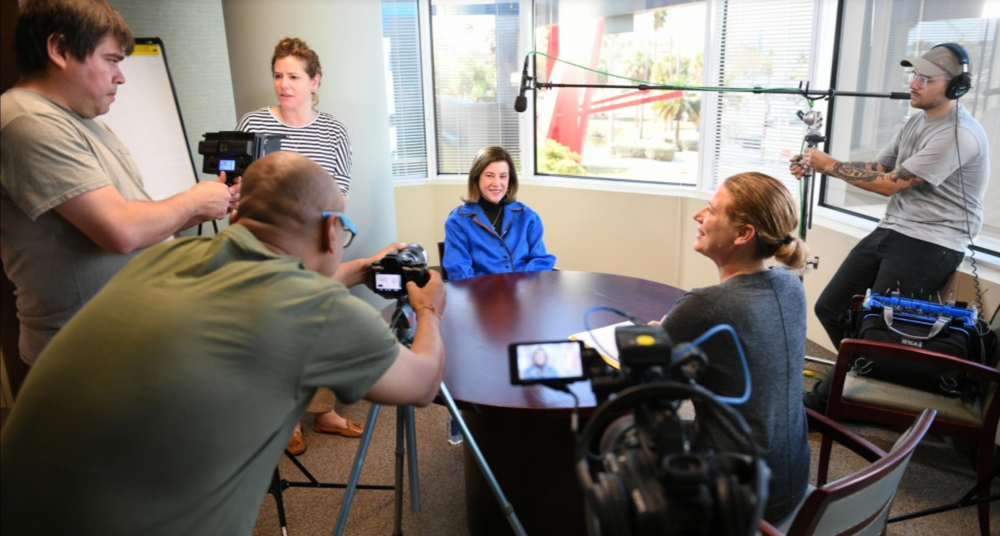"""Ellen Galinsky, center, author of """"Mind in the Making: The Seven Essential Life Skills Every Child Needs"""" is interviewed Wednesday, Apr. 12, 2017 for a documentary by the Colombian-based Genesis Foundation. [Herald-Tribune staff photo / Mike Lang]"""