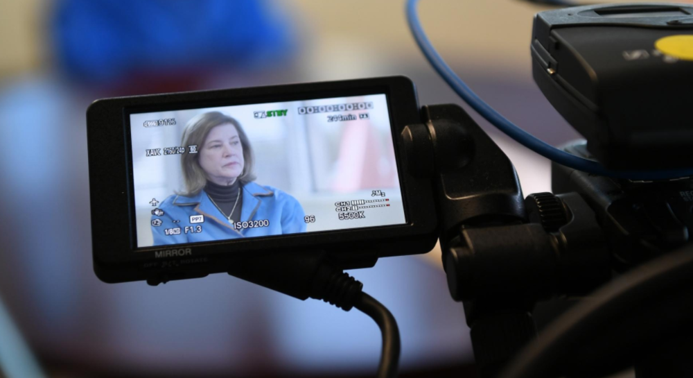 """Ellen Galinsky,author of """"Mind in the Making: The Seven Essential Life Skills Every Child Needs"""" is interviewed Wednesday, Apr. 12, 2017 for a documentary by the Colombian-based Genesis Foundation. [Herald-Tribune staff photo / Mike Lang]"""