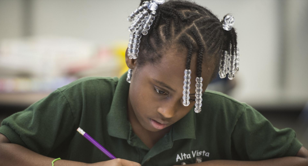 Kamiya Crocker does work during Alta Vista's Eagle Academy summer program. [Herald-Tribune archive photo / 2015]