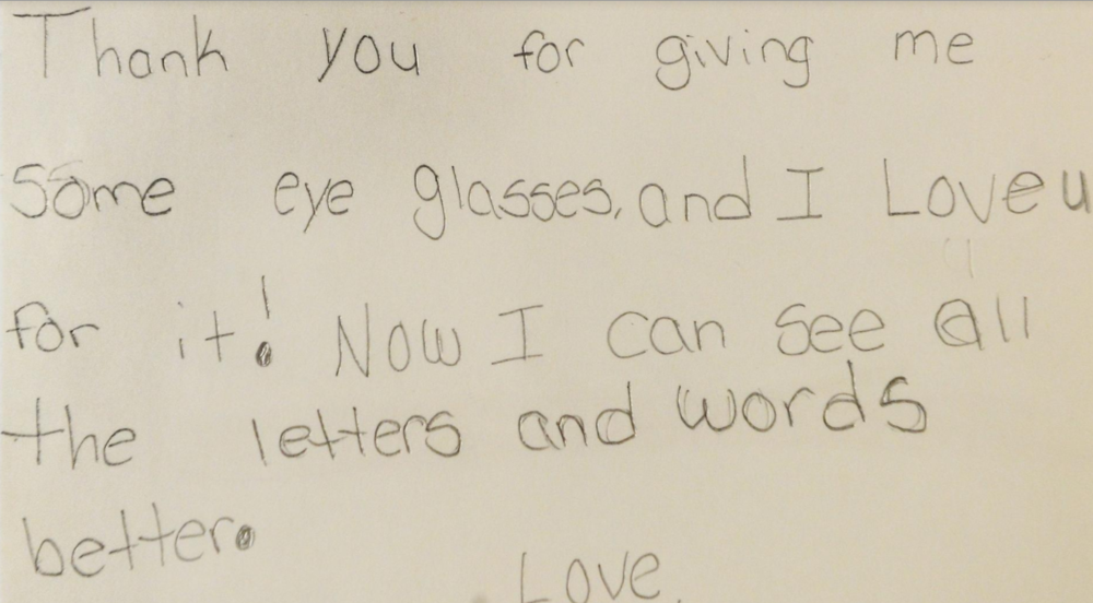 A thank you note from a child who received free eye care from Sarah Mackie. [Herald-Tribune staff photo / Dan Wagner]
