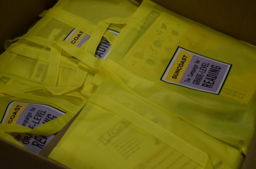 Kindergarten readiness bags supplied by the Suncoast Campaign for Grade-Level Reading for families of incoming kindergartners at Title 1 schools. [Herald-Tribune photo / Yadira Lopez]