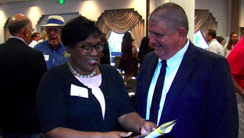 Manatee County Schools Superintendent Dr. Diana Greene and Sarasota County Schools Superintendent Todd Bowden talk at the Suncoast Campaign for Grade-Level Reading community breakfast Thursday morning at Michael's on East in Sarasota. [Courtesy photo / Bill Wagy]