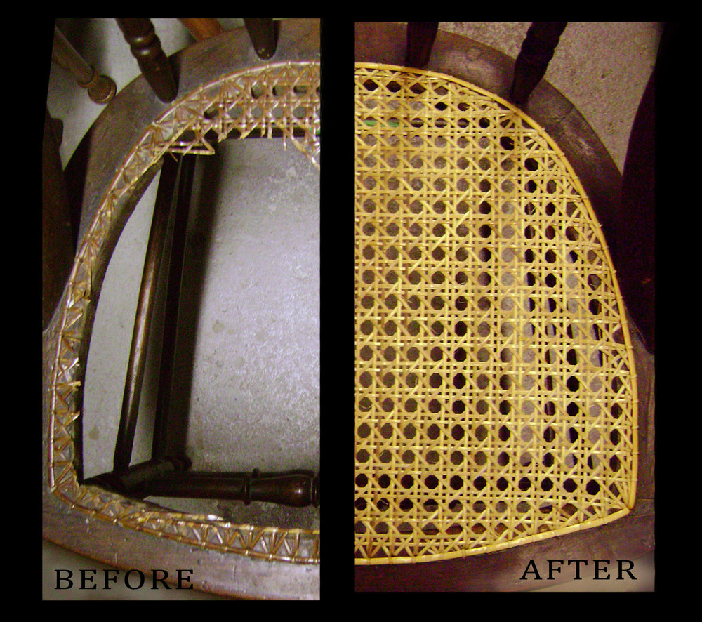 A hand cane chair. Before (left) after (right)