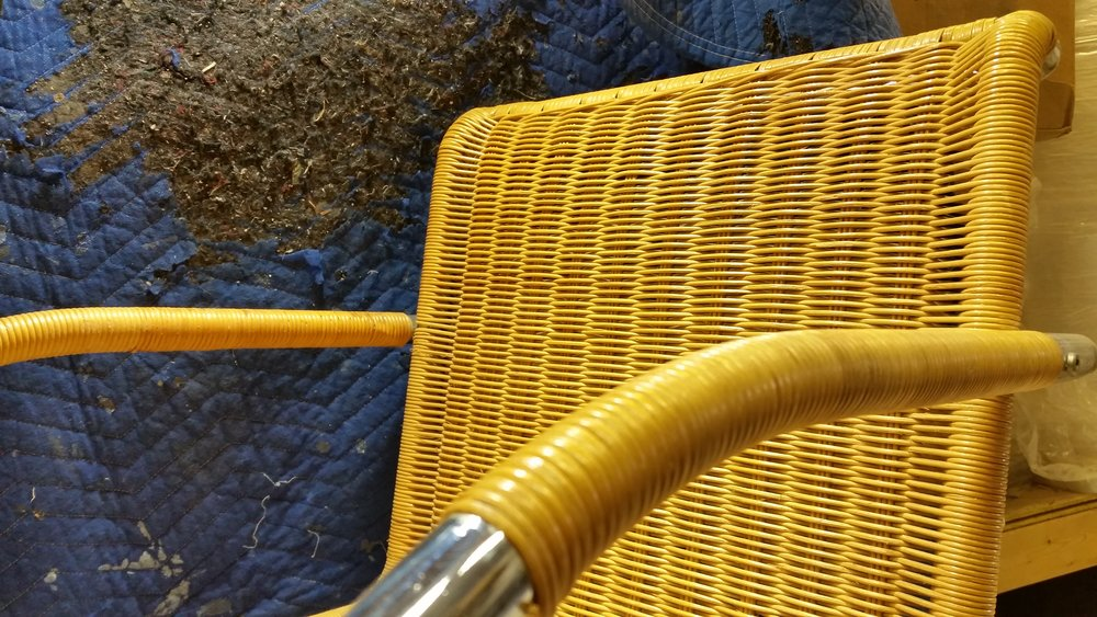 A common weaving material, reed or round is taken from the center of the rattan plant which provides a strong but light weaving material. Round can be found on chairs made of metal, wood, wrought iron, and reed or wicker. Reed is the same material used on wicker furniture. Seen above is a detail of an MR20 originally designed by Ludwig Mies van der Rohe.