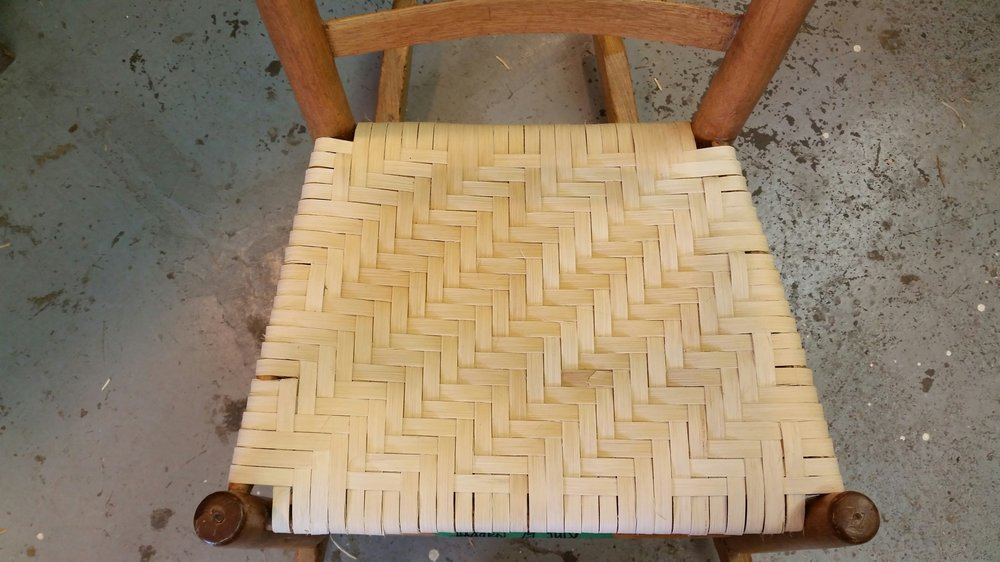 "This style of weaving goes by many different names: splint/reed/pith/hickory/ash and is also often confused with shaker tape. Splint is made of long thin strips of the rattan plant often 3/4"" to 1 1/2"" wide."