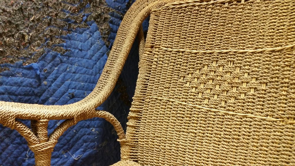Seagrass is a weed that is spun into a rustic looking chord. Often confused with Danish chord, seagrass gives a more charming cottage look to a piece. It can be woven in many different patterns.