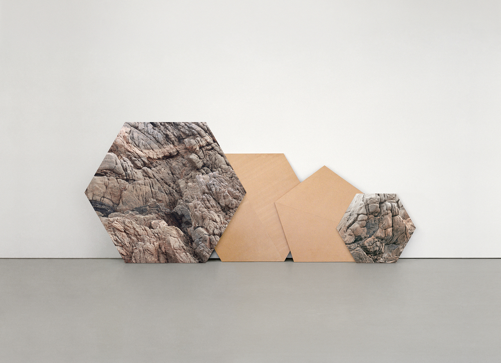 Andrea Galvani © 2005/2015,   Deconstruction of a Mountain #0,   Installation detail at Curro y Poncho, Gudalajara, Mexico.   Infinitely reconfigurable sculpture, Archival pigment print mounted on weather treated MDF, 13 architectural elements, dimensions variable