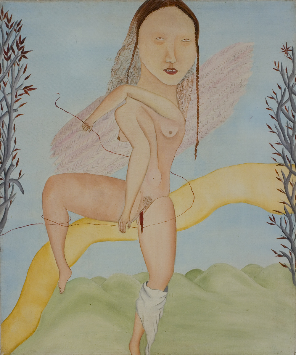 Cecilia Vicuña © 1973 ,  Angel de la menstruación . Oil on canvas. 22.75 x 19 in. Courtesy of the artist.