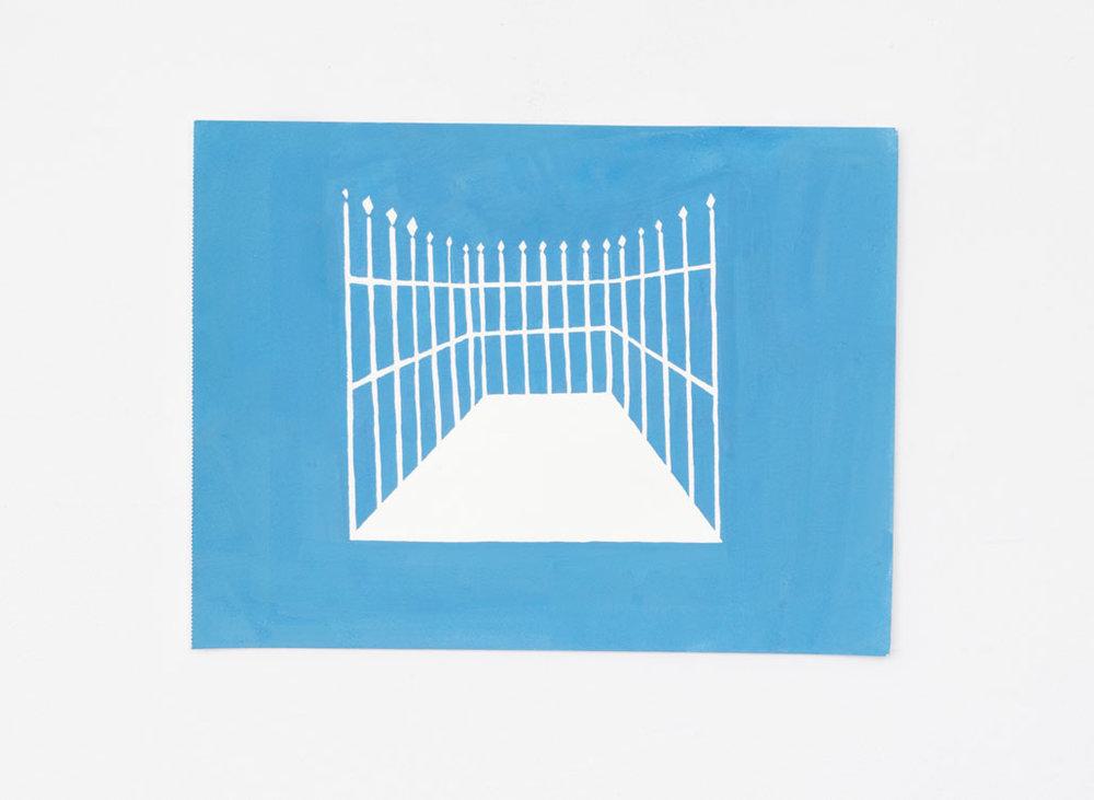White Fences gouache sur papier 9 x 14 pouces 2018