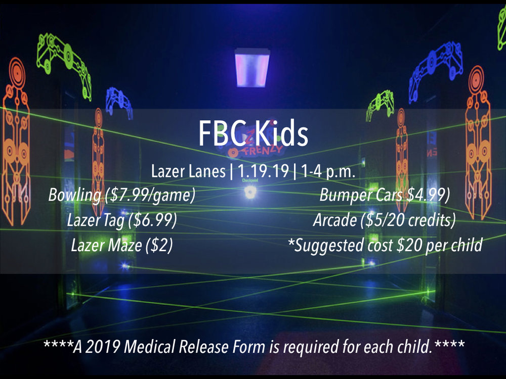 Are you a parent of elementary-aged kiddos? Bring the family and join us for a trip to Lazer Lanes. More info available via our  Facebook  page.
